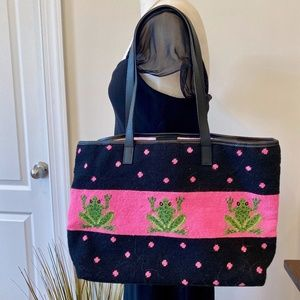 Bags - Pink and Green Frog Needlepoint Tote Bag